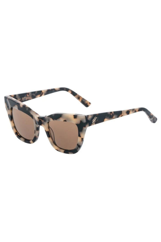 Dusk Shiny Beige Tort Brown Thick Frame Square Cat Eye Polarised Sunglasses