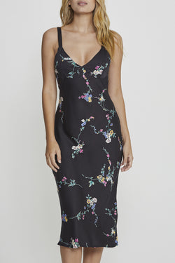 Dawn Spencer Floral  Black Midi Slip Dress