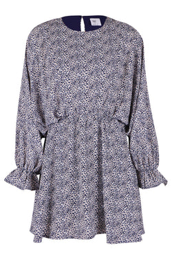 Den Ditsy Navy Floral Mini LS Dress