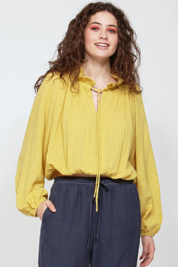 Depot Cotton Frill Neck Sunflower Top