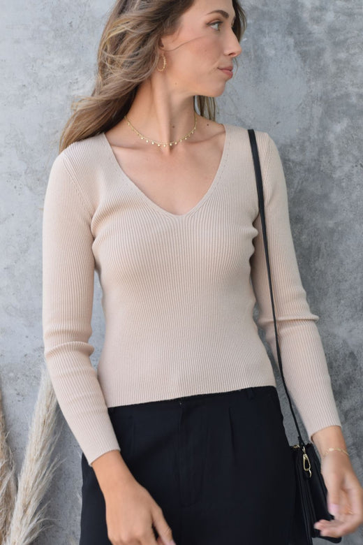 Desire Biscuit LS V Neck Rib Knit Top