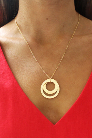 Double Circle Gold Necklace
