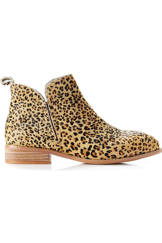 Douglas Flat Leather Tan Leopard Ankle Boot