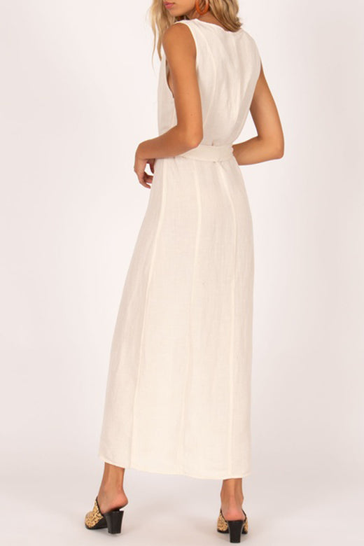 Driftwood SL Button Midi White Dress