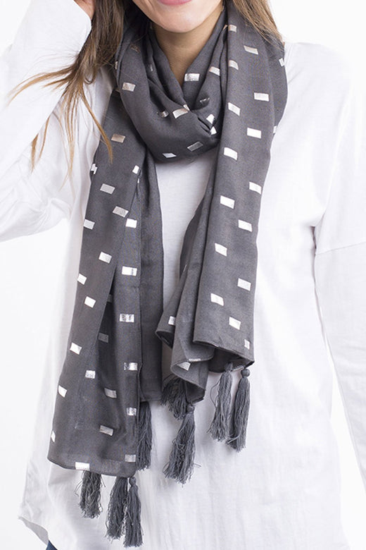 Metallic Lines Charcoal Scarf