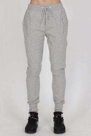 Escape Grey Marle Trackies with Silver Zips