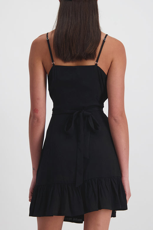 Ebony Strappy Wrap Ruffle Black Dress