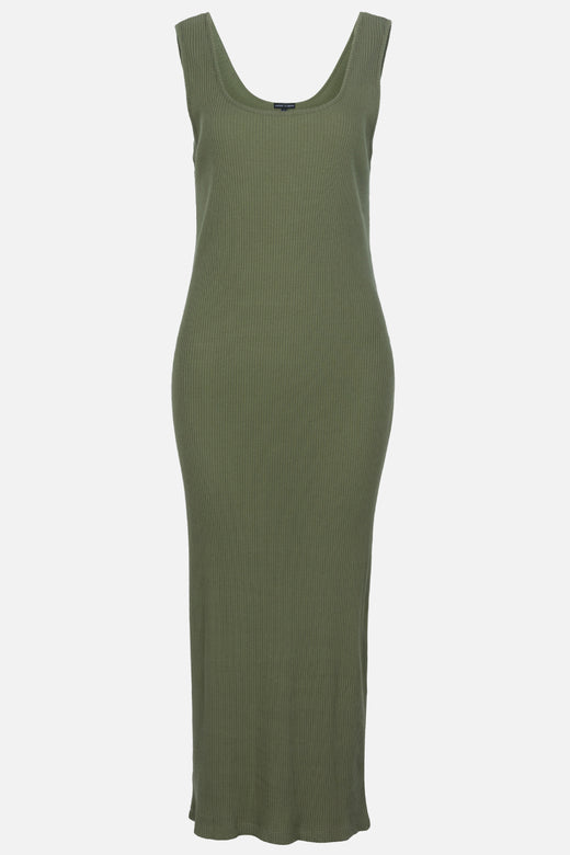 Effortless Square Neck Khaki Rib Tank Midi Dress