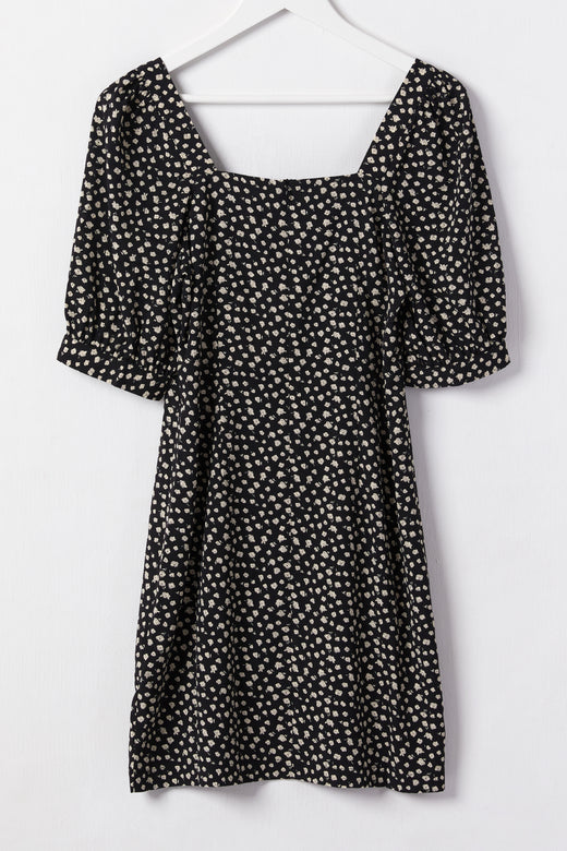 Electrify Black Floral Square Neck Puff Sleeve Mini Dress