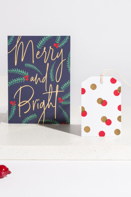 Merry and Bright Navy Christmas Card