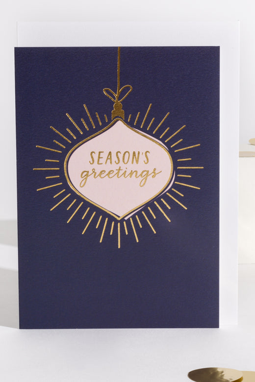 Seasons Greetings Navy Christmas Card