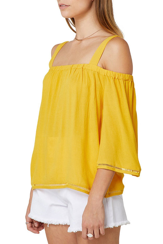 Alana Cold Shoulder Sunflower Top