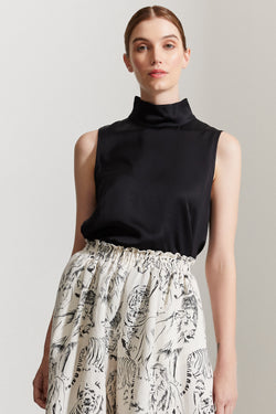 Emery High Neck Satin SL Black Top