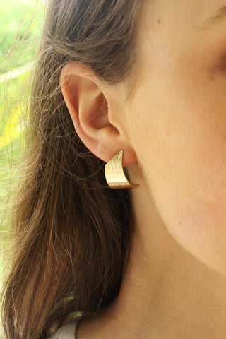 Etched Twist Gold Earrings