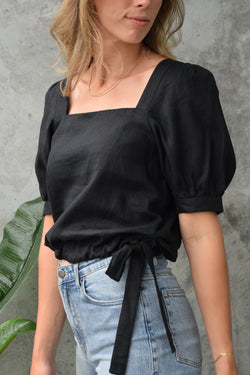 Eternal Square Neck Black Puff Sleeve Linen Crop Top