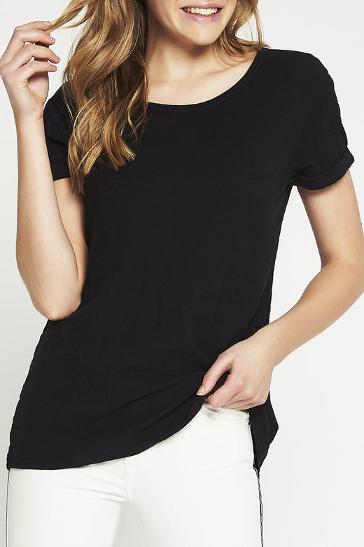 Evie Black Round Neck Tee