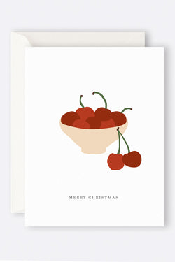 Merry Christmas Cherries Greeting Card