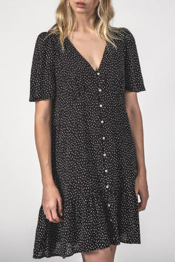 Happy Times Button Up SS Black Spec Dress