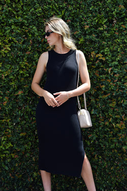 Glowing Black Rib Knit Cut Away Midi Tank Dress