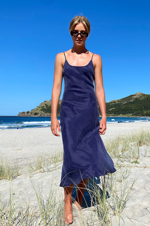 Golden Hour Navy Cupro Bias Slip Midi Dress