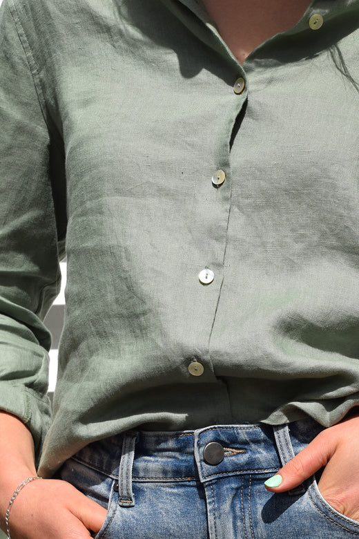 Ultimate Sea Green LS Linen Shirt