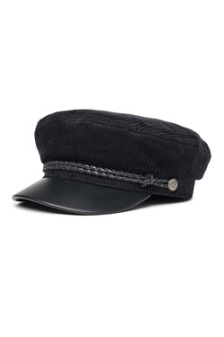 Fiddler Black Black Leather Cap