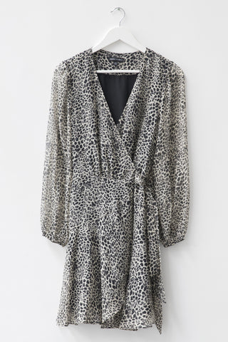 Fresh Take LS Ice Leopard Wrap Dress