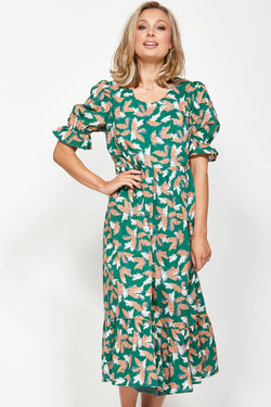 Fateful SS Green Floral Midi Dress