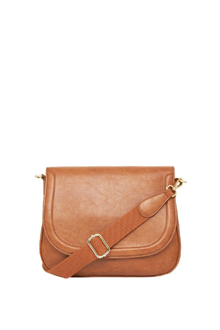 Ferrara Saddle Bag Tan Pebble