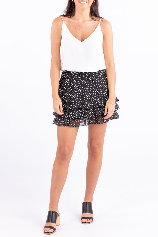 Fiesta Black Spot Shirred Mini Skirt