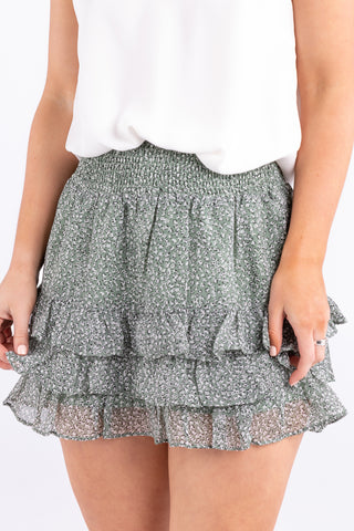 Fiesta Sage Animal Shirred Mini Skirt