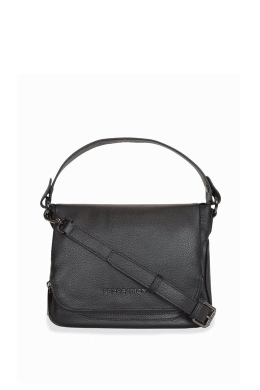 For Keeps Black Crossbody Bag with Zipped Flat Gunmetal Hardware