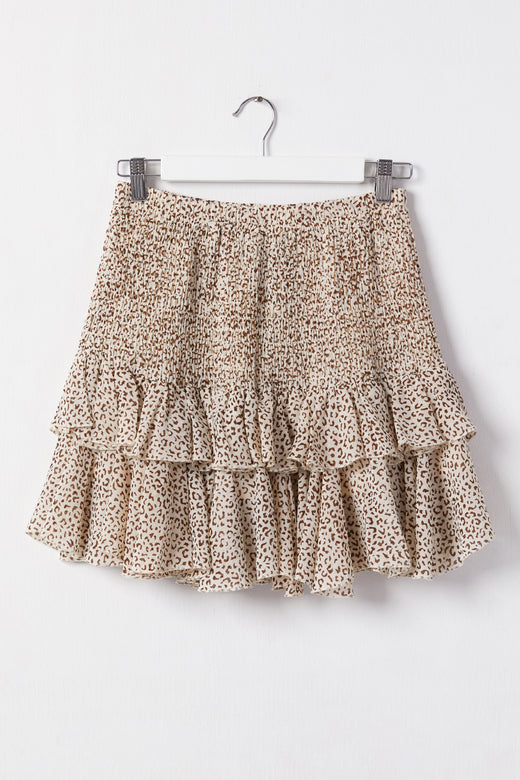 Foxy Taupe Animal Shirred Double Frill Mini Skirt