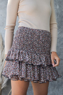 Foxy Navy Ditsy Floral Shirred Double Frill Mini Skirt