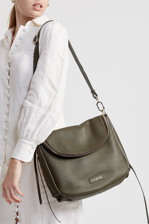 Frankie Fold Over Olive Leather Shoulder Bag