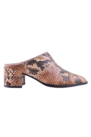 Freddie Brown Snake Low Heel Mule