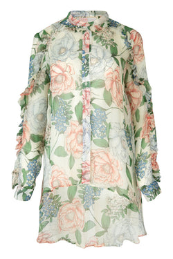 Frill The World Ivory Floral Blouse