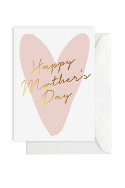 Happy Mothers Day Pink Heart Card