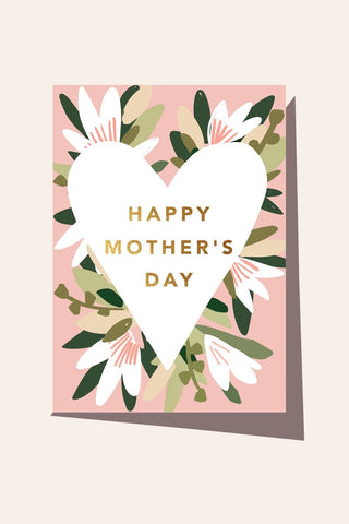 Happy Mothers Day White Heart with Flowers Card