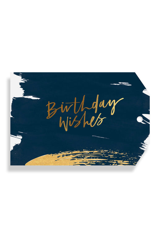 Birthday Wishes Gold Brush Navy Gift Tag