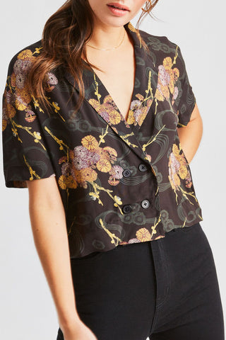 Gemma Black Moss Print Cropped Shirt