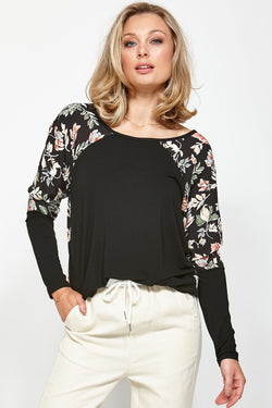 Generation Black Floral Sleeve Tee