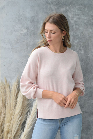 Genuine Ballet Pink Relaxed Cotton Fine Gauge Crew Neck Knit