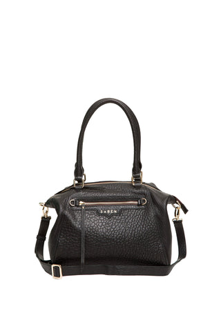 Gita Black Bubble Leather Hand Bag