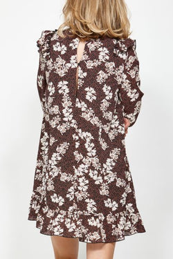 Glance LS Black Burgundy Floral Dress