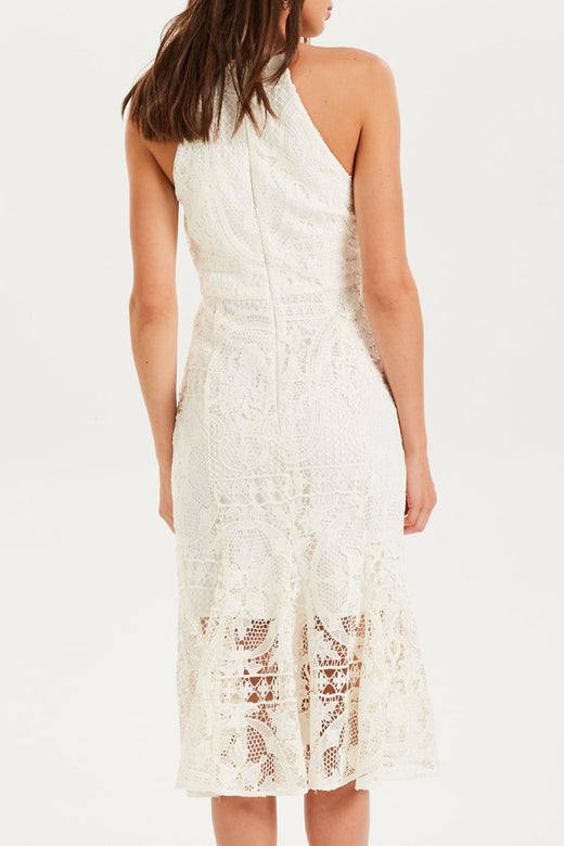 Glimmer High Neck Marshmellow Lace Dress