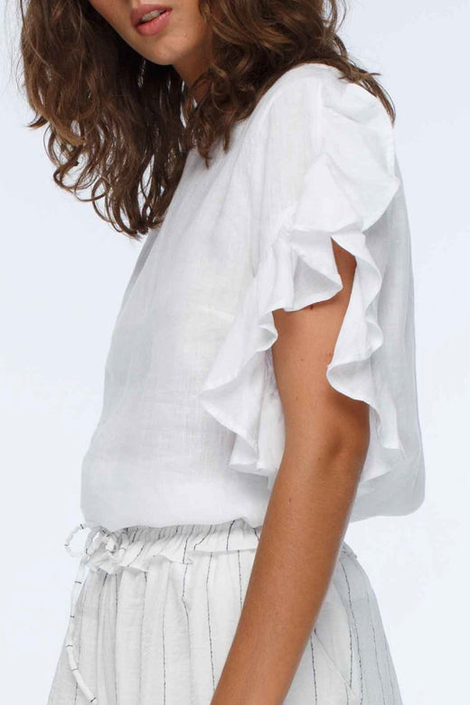 Heartbreaker Ruffle Sleeve White Top
