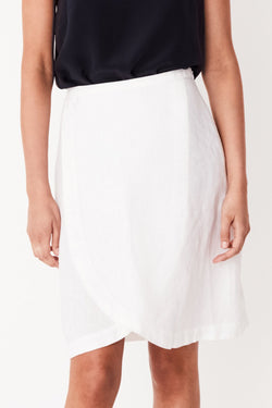Curved White Mock Wrap Skirt