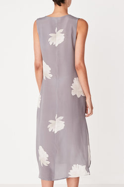 Silk Tank Peony Print Blue Dress