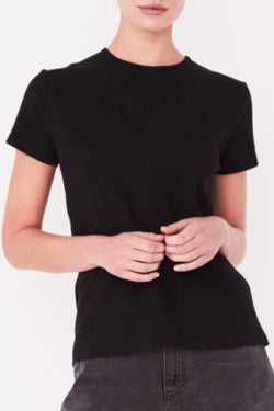 Ida SS Black Rib Slim Fit Tee